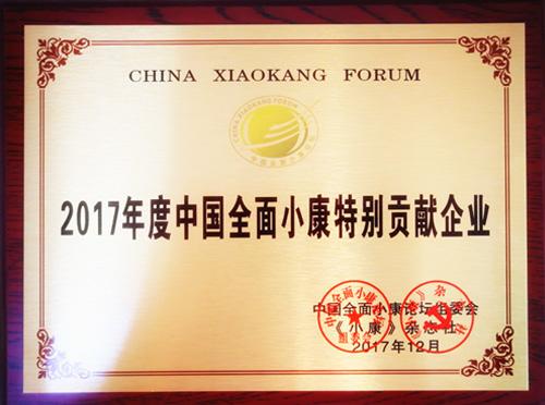 和也中国全面小康特别贡献企业证书