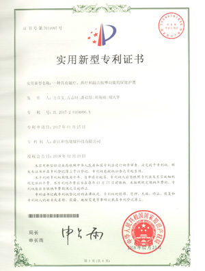 201720104996X一种具有磁疗、热疗和敲击按摩功能的保健护腰实用新型专利证书